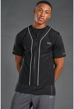 Black Man Active Reflective Singlet Jacket