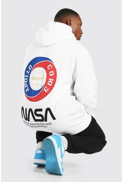 White Oversized NASA Back Print License Hoodie