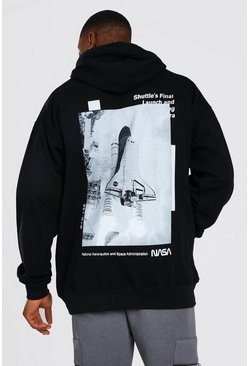 Oversized NASA Rocket Back Print License Hoodie, Black