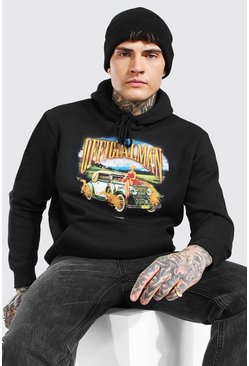Black Oversized Official MAN Car Print Hoodie