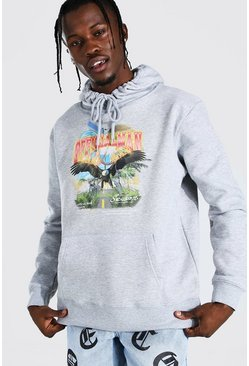 Light grey Oversized Official MAN Eagle Print Hoodie