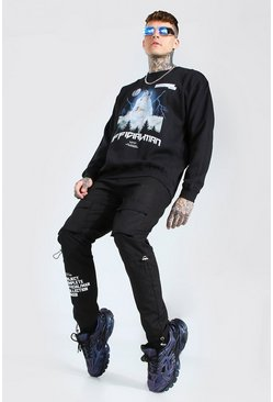 Sweat oversize imprimé loup - Official MAN, Black