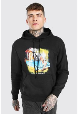 Black Oversized Official Car Print Hoodie