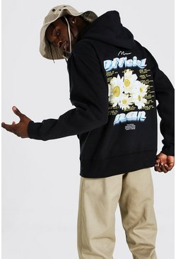 Black Oversized MAN Official Tour Back Print Hoodie