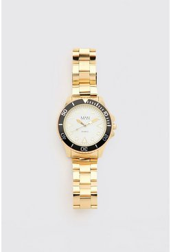 Gold MAN Dash Contrast Bezel Watch