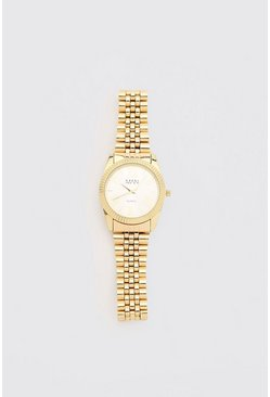 Gold MAN Dash White Face Watch