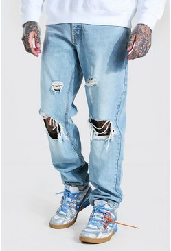 Ice blue Relaxed Fit Distressed Jean With Busted Knee