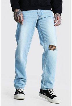 Ice blue Relaxed Fit Jean With Slashed Knee
