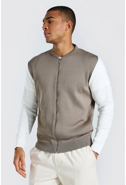 Taupe Colour Block Knitted Bomber Jacket
