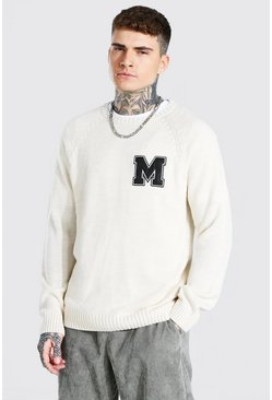 Cream Man Varsity Patch Crew Neck Knitted Jumper