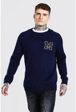 Navy Man Varsity Patch Crew Neck Knitted Jumper