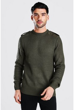 Khaki Crew Neck Knitted Jumper With Utility Patches
