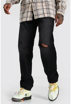 Washed black Relaxed Fit Jean With Slashed Knee