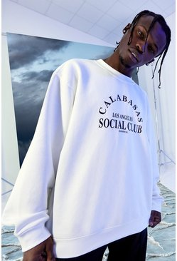 White Oversized Calabasas Social Club Sweatshirt