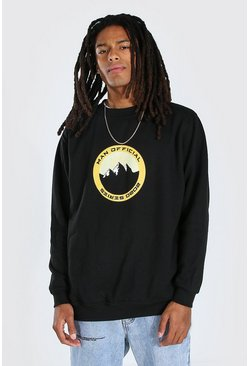 Black Oversized Official MAN Mountain Print Sweatshirt