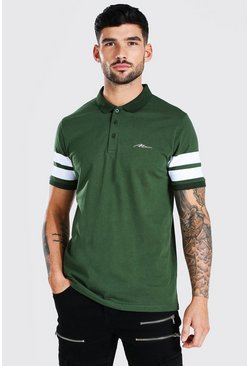 Khaki Man Signature Sports Panel Polo