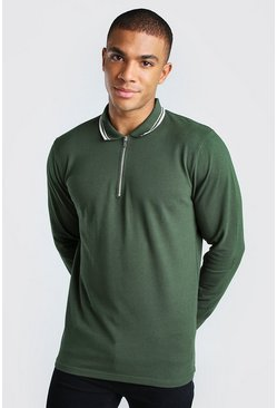 Khaki Long Sleeve 1/4 Zip Pique Polo With Tipping