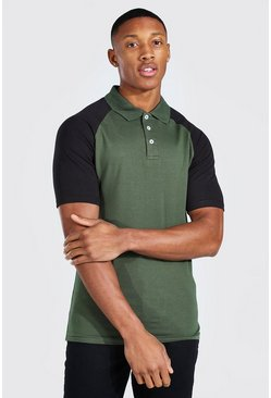 Khaki Muscle Fit Raglan Jersey Polo
