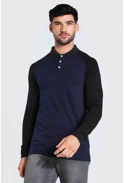 Navy Muscle Fit Long Sleeve Raglan Jersey Polo