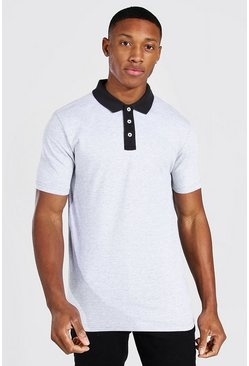 Grey marl Muscle Fit Contrast Collar Polo