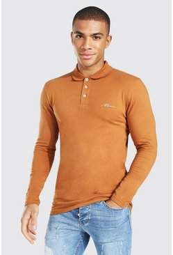 Man Signature Long Sleeve Muscle Fit Polo, Rust