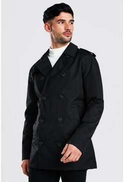 Trench croisé court , Black
