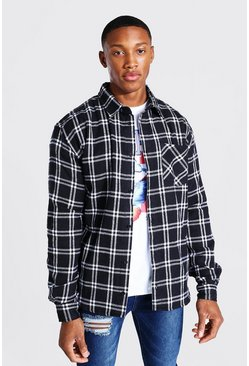 Black Long Sleeve Regular Fit Flannel Shirt