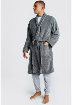 Plain Shawl Collar Dressing Gown, Grey