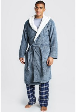 Blue Plain Fleece Lined Hooded Dressing Gown