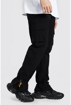 Black Straight Leg Crinkle Shell Flame Zip Cargo Pants