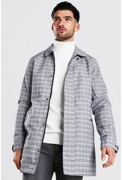 Grey Check Concealed Zip Through Mac