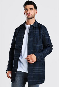 Navy Check Concealed Zip Through Mac