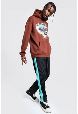 Chocolate Oversized Printed Hoodie with Tricot Jogger Set