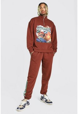 Chocolate Oversized MAN Graphic Half Zip Funnel Tracksuit
