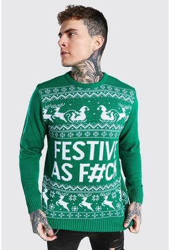Festive Slogan Knitted Christmas Jumper, Emerald