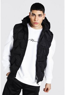 Black Geo Hooded Gilet