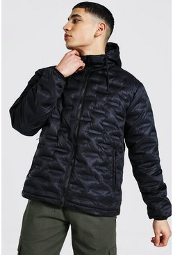 Black Square Geo Hooded Puffer