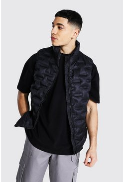 Black Square Geo Neck Funnel Neck Gilet