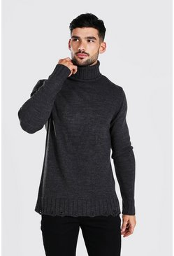 Charcoal Chunky Roll Neck Sweater With Nibbled Edge