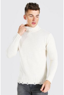 Cream Chunky Roll Neck Jumper With Nibbled Edge