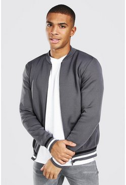 Grey Smart Knitted Bomber With Stripes