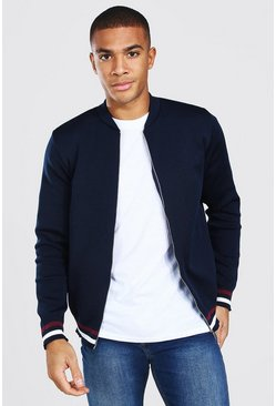Navy Smart Knitted Bomber With Stripes