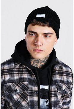 Black Official MAN Tab Micro Beanie