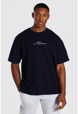 Navy Oversized Man Signature T-Shirt