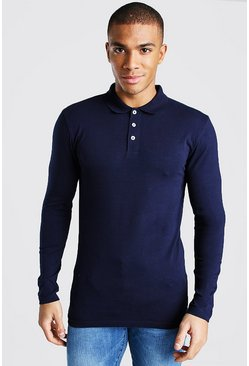 Navy Muscle Fit Long Sleeve Polo