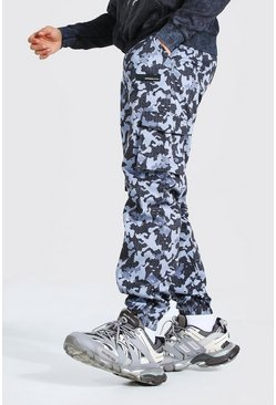 Dark grey Relaxed Fit Camo Twill Cargo Trouser