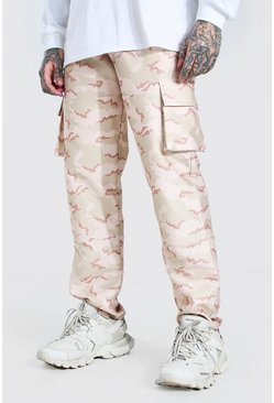 Sand Relaxed Fit Twill Camo Cargo Trouser With 3D Pockets
