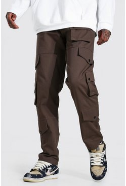 Chocolate Fixed Waistband Relaxed Fit Twill Cargo Trouser