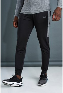 Black MAN Active Marl Panel Poly Skinny Fit Jogger