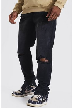 Washed black Tapered Rigid Stacked Leg Exploded Knee Jean